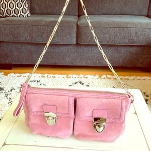 Banana Republic pink suede purse with silver strap